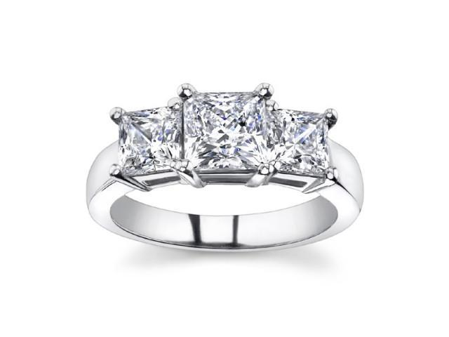 1.95 Ct Ladies Princess Cut Diamond Three Stone Engagement Ring in 18 kt White Gold