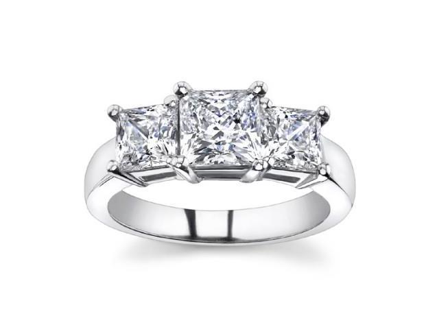 1.95 Ct Ladies Princess Cut Diamond Three Stone Engagement Ring in Platinum