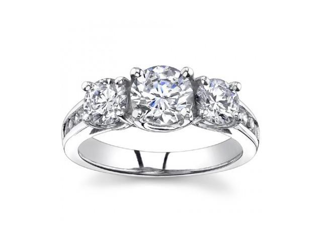 2.25 Ct Ladies Round  Cut Diamond Three Stone Engagement Ring in 14 kt White Gold