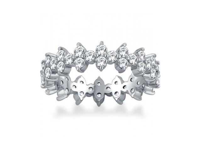 2.00 ct Ladies Round Cut Diamond Eternity Wedding Band Ring in 14 kt White Gold