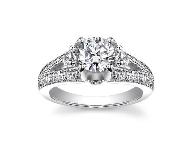 1.49 ct Vintage Style Round Cut Diamond Engagement Ring in 14 kt White Gold