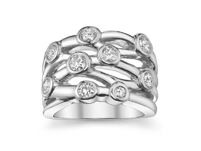 1.50 ct Ladies Round Cut Diamond Anniversary Ring In Bezel Setting in 18 kt White Gold