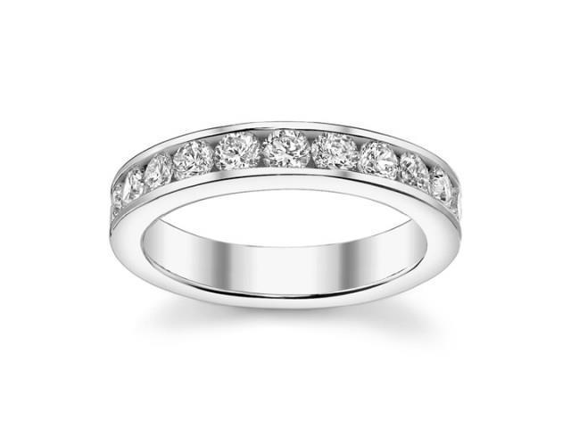 1.00 Ct Round Cut Diamond Wedding Band Ring In Channel Settingin 14 kt White Gold