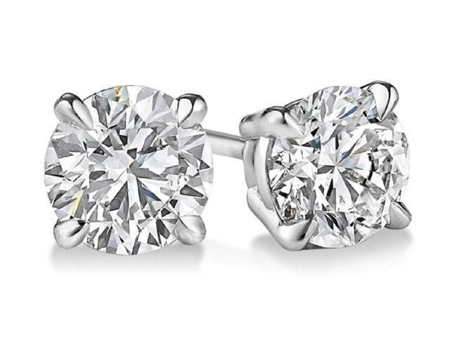 Sight Holder Diamonds 2.00 CTW Genuine White Topaz Stud Earrings Set In Solid 14K White Gold