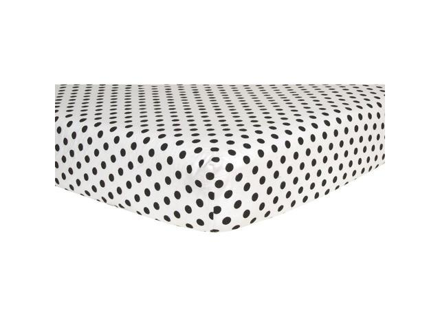 Trend Lab Flannel Crib Sheet- Black and White Dots