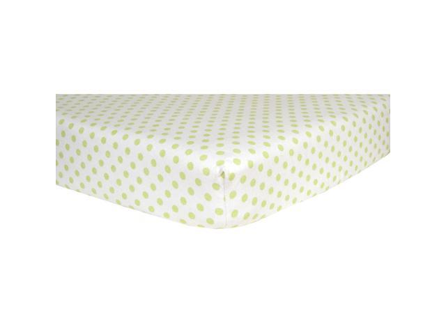 Trend Lab Flannel Crib Sheet-Sage Green and White Dots