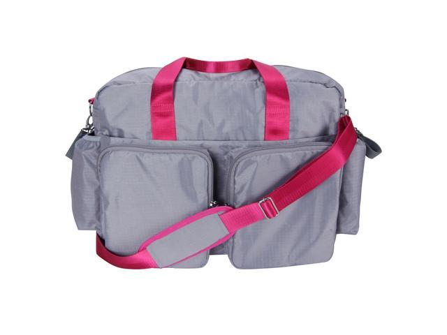 Trend Lab Gray and Magenta Pink Deluxe Duffle Style Diaper Bag