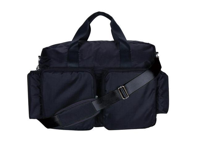 Trend Lab Black and Avocado Green Deluxe Duffle Style Diaper Bag