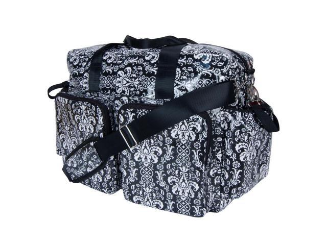 Trend Lab Midnight Fleur Damask Deluxe Duffle Style Diaper Bag