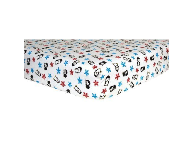 Trend Lab Flannel Crib Sheet-Penguin Print