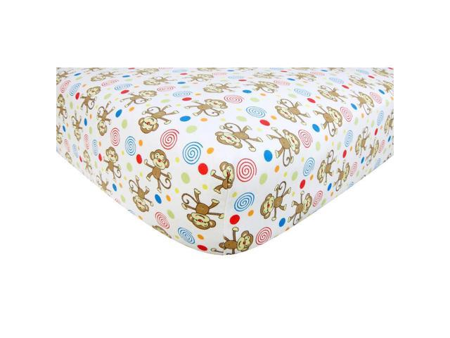 Trend Lab Monkey Flannel Crib Sheet