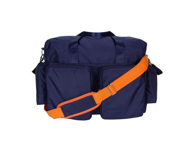 Trend Lab Navy Blue and Orange Deluxe Duffle Style Diaper Bag