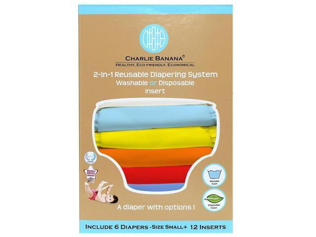 Charlie Banana 2-in-1 Small Reusable Diaper - 6 Pack