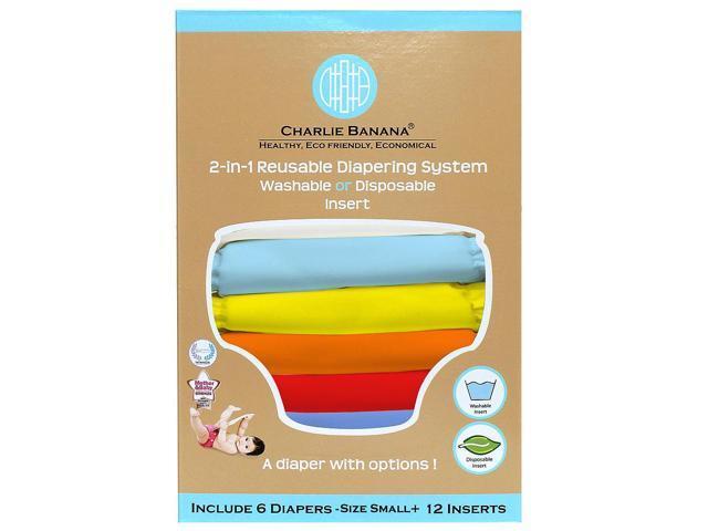 Charlie Banana 2-in-1 Small Reusable Diaper - 6 Pack