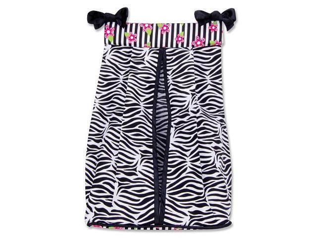 Trend Lab Zahara Zebra Print Diaper Stacker - Black and White