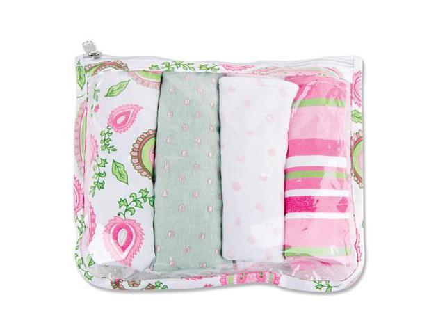 Trend Lab Paisley Park Zipper Pouch and 4 Burp Cloths Gift Set - Pink
