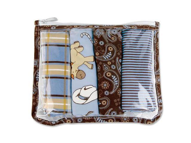 Trend Lab Cowboy Baby Zipper Pouch and 4 Burp Cloths Gift Set - Blue