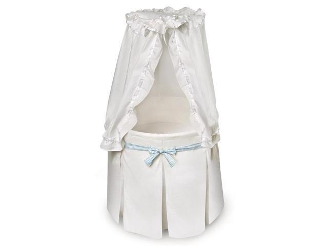 Badger Basket Empress Round Baby Bassinet - White Bedding