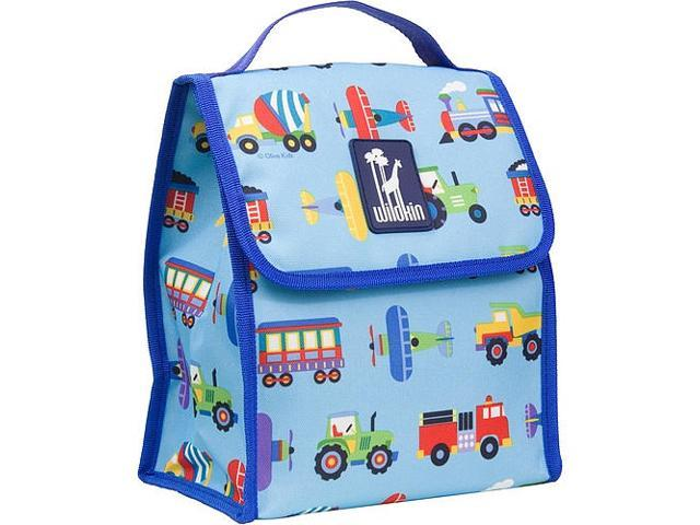 Wildkin Munch 'n Lunch Bag - Olive Kids Trains, Planes and Trucks