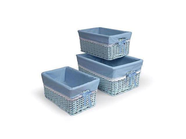 Badger Basket Set of Three Blue Nursery Baskets w/Liners - 0095B