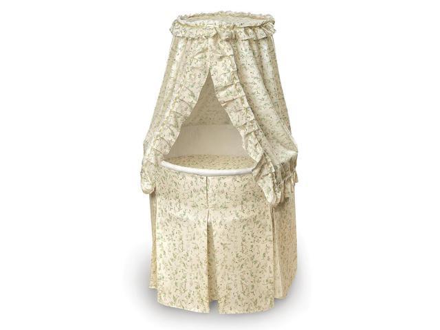 Badger Basket Empress Round Baby Bassinet - Ecru/Leaf Print Bedding