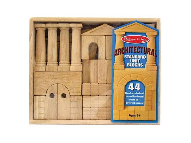 Melissa & Doug Deluxe Wooden Architectural Unit Blocks