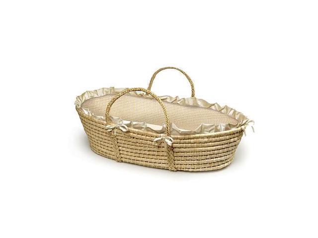 Badger Basket Natural Moses Basket - Ecru Gingham
