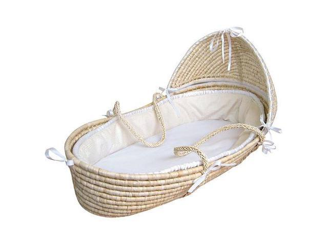 Badger Basket Hooded Moses Basket - Ecru Waffle Bedding