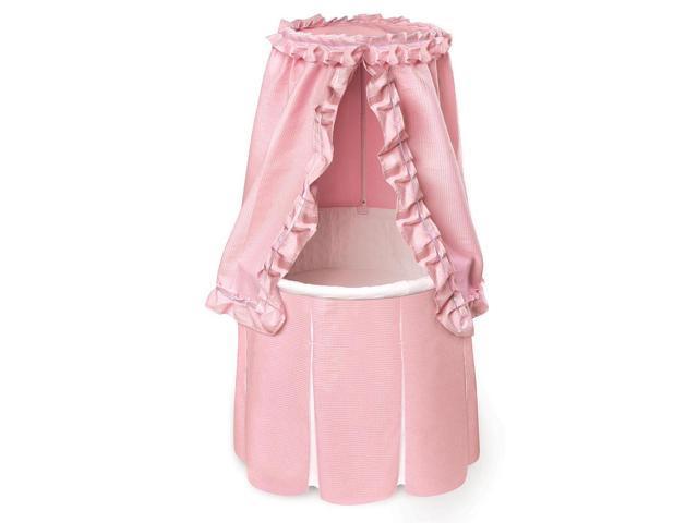 Badger Basket Empress Round Baby Bassinet - Pink Bedding