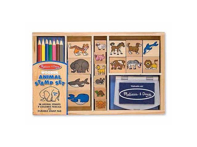 Melissa & Doug Wooden Animal Stamp Set