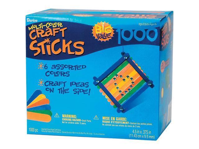 Wood Jumbo Craft Sticks - Assorted Colors-4.5