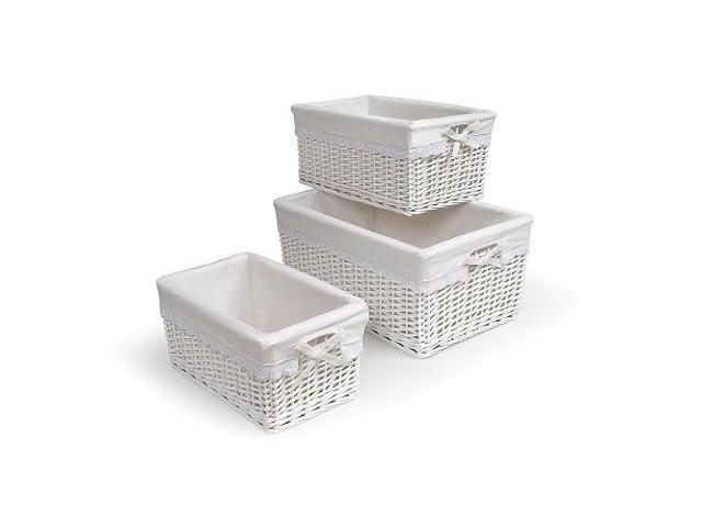 Badger Basket Set of Three White Nursery Baskets w/Liners - 0095W