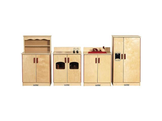 4 Piece Wooden Kitchen Set - Wood Stove, Sink, Refrigerator and Cupboard
