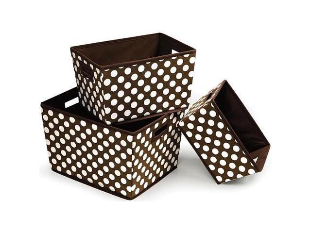 Badger Basket Nesting Trapezoid 3 Basket Set - Brown Polka Dots - 00949