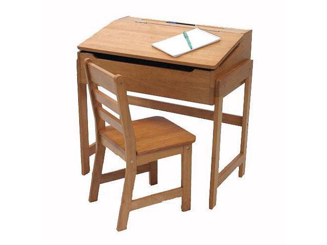 Lipper International Slanted Top Desk & Chair - Pecan