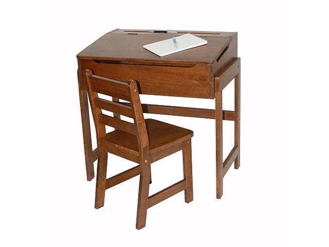 Lipper International Slanted Top Desk & Chair - Walnut