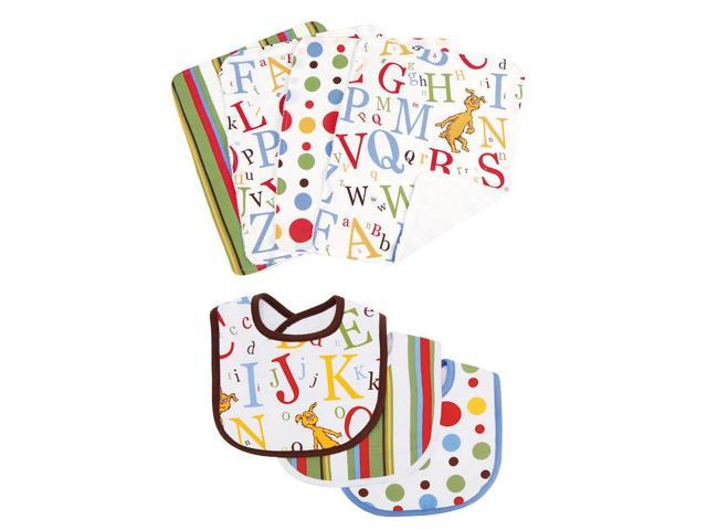 Dr. Seuss by Trend Lab ABC 3 Pack Bib and 4 Pack Burp Cloth Set