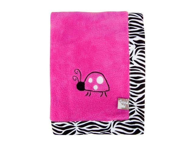 Trend Lab Zahara Zebra Framed and Embroidered Coral Fleece Receiving Blanket
