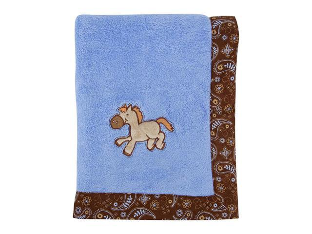 Trend Lab Cowboy Baby Framed and Embroidered Coral Fleece Receiving Blanket