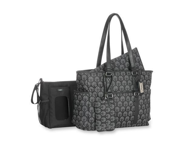 carter 39 s studio diaper bag with removable stroller tote black grey ne. Black Bedroom Furniture Sets. Home Design Ideas