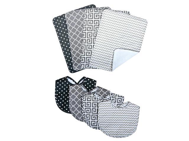 Trend Lab Ombre Gray 8 Piece Bib and Burp Cloth Set