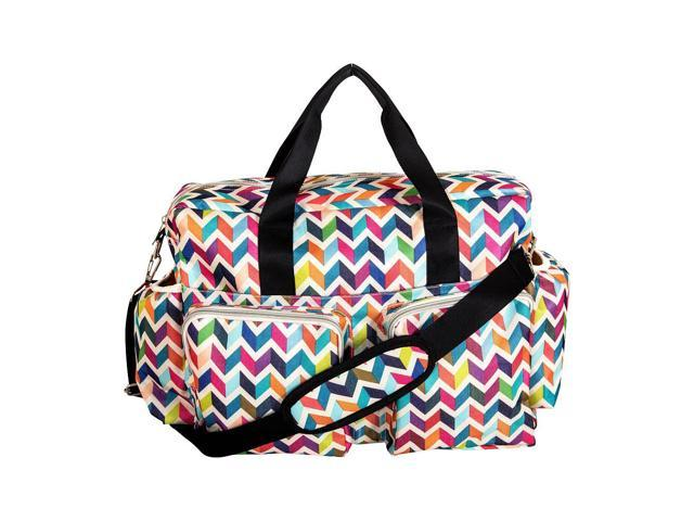 Trend Lab French Bull Ziggy Multi-Colored Chevron Deluxe Duffle Diaper Bag