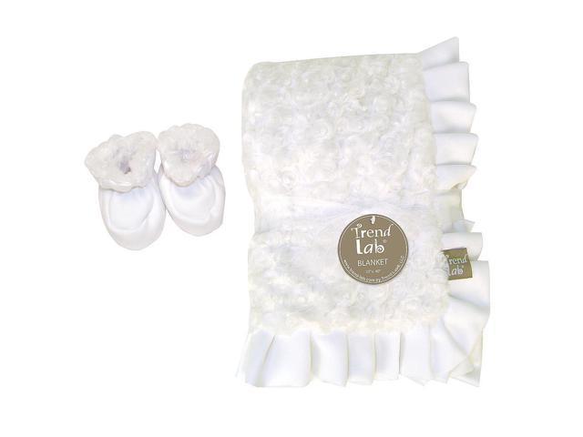 Trend Lab Neutral White Swirl Velour Ruffle Trimmed Blanket & Reversible Booties