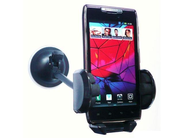 "Kit Me Out USA 7"" Windscreen Car Mount Suction Holder for Motorola Razr XT-910 - Black"
