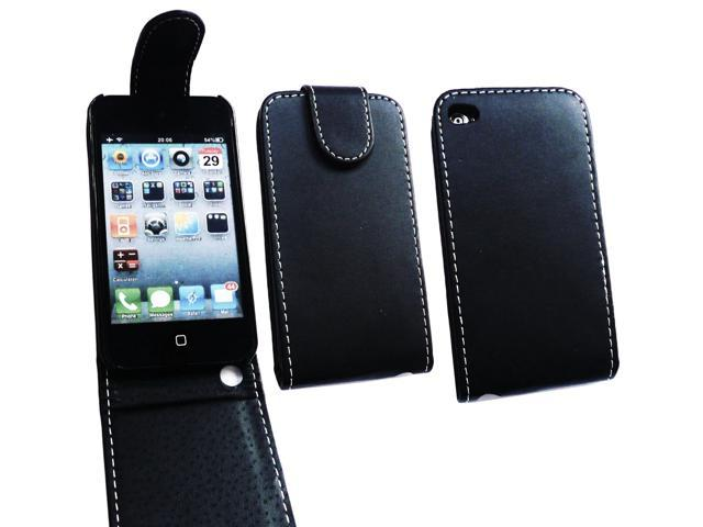 Kit Me Out USA PU Leather Flip Case + Screen Protector with MicroFibre Cleaning Cloth for Apple iPod Touch 4 (4th Generation) - Black
