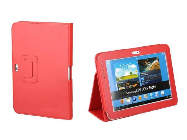 Kit Me Out US PU Leather Book Case for Samsung Galaxy Note 10.1 Tablet ( 10.1 Inch ) - Red Luxury Multi Function