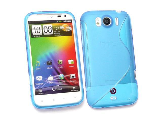 Kit Me Out USA TPU Gel Case for HTC Sensation XL - Blue S Wave Pattern