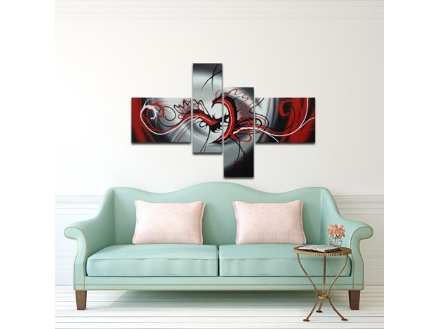 Wieco Art   Modern 4 Panels Abstract Stretched And Framed Artwork 100% Hand  Painted Contemporary