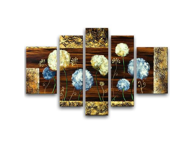 Wieco Art - Dandelion Kites - Modern Artwork 5 panels 100% Hand-painted Floral Oil Paintings on Canvas Wall Art for Decor 5pcs/set