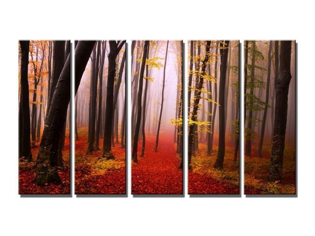 Wieco Art - Modern Giclee Canvas Prints Artwork the Misky Autumn Forest - 5 Panels Modern Landscape Pictures to Paintings on Canvas Wall Art for Home and Office Decorations 5pcs/set